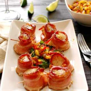 Bacon Wrapped Scallops with Mango Salsa