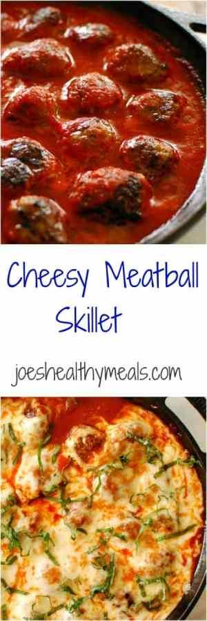 Cheesy meatball skillet. Full of Italian flavors and cheesy goodness. This recipe is is one to keep making over and over! | joeshealthymeals.com
