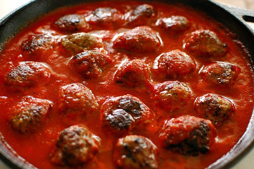 Meatballs in homemade marinara sauce. Top with grated parmesan cheese and brown under a broiler for a few minutes. Delicious! | joeshealthymeals.com