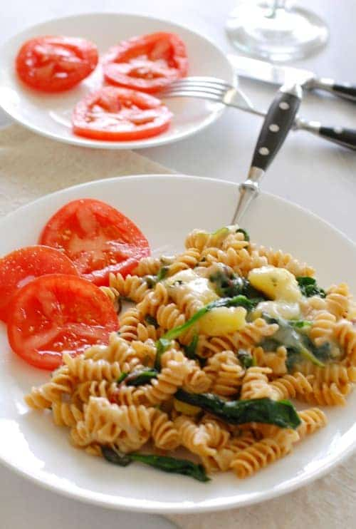 Pasta with potatoes and greens. Simple and satisfying vegetarian meal.   joeshealthymeals.com
