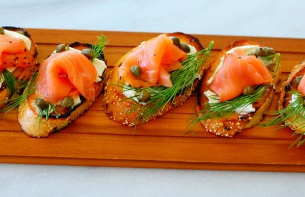 smoked salmon, dill weed, capers and cream cheese on toasted bread