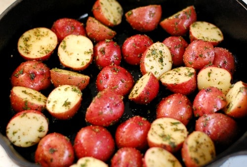 roasted potato appetizer in skillet