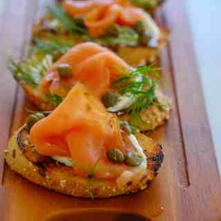 Close up of smoked salmon appetizer.