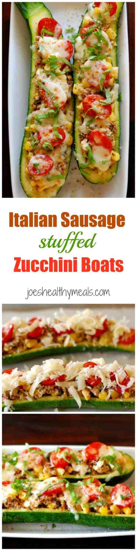 Italian sausage stuffed zucchini boats. This recipe is a delicious way to serve zucchini, either as a main dish or cut up for an appetizer. | joeshealthymeals.com