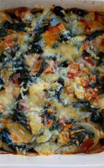 Bacon Swiss chard potatoes au gratin. Terrific side dish for any meal. | joeshealthymeals.com