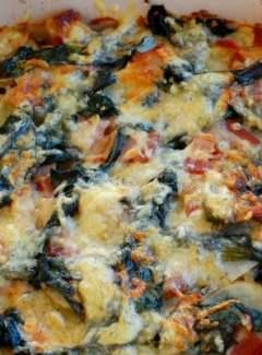 Bacon Swiss chard potatoes au gratin. Terrific side dish to have with any meal. | joeshealthymeals.com