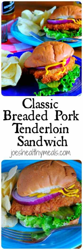 Classic breaded pork tenderloin sandwich. Deliciously crunchy cracker crumb breaded pork, just like I remember when I was a child. Yum! | joeshealthymeals.com