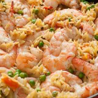One Pan Orzo Shrimp and Tomatoes