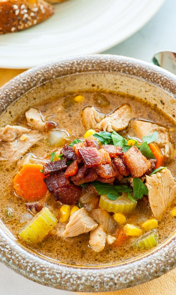 Leftover turkey vegetable soup with bacon. Delicious recipe that includes bacon for extra flavor.   joeshealthymeals.com