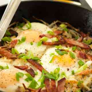 Cheesy Hash Browns Bacon and Eggs