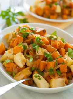Sweet potato and caramelized onion skillet. This is a perfect recipe to serve during the holidays.   joeshealthymeals.com