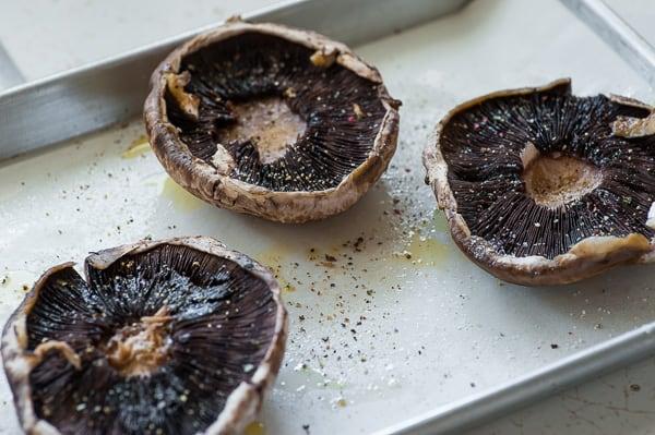 Portobello caps, ready to bake. | joeshealthymeals.com