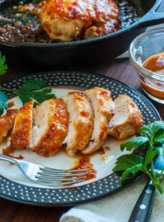 Apricot-chili glazed chicken breast. Delightfully spicy and easy to prepare recipe for chicken breasts.   joeshealthymeals.com