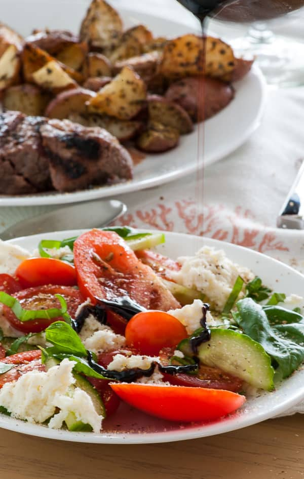 Cucumber caprese salad. Next time you make a caprese salad, reduce the balsamic vinegar to boost the flavor and add in some cucumber. | joeshealthymeals.com