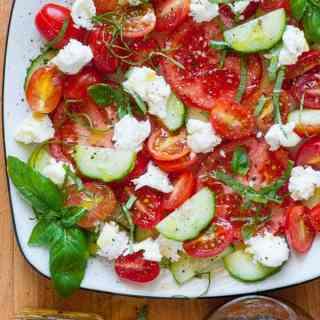 Cucumber Balsamic Caprese Salad