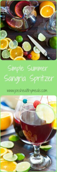 Simple summer sangria spritzer collage. Just the most refreshing summer drink there is. | joeshealthymeals.com