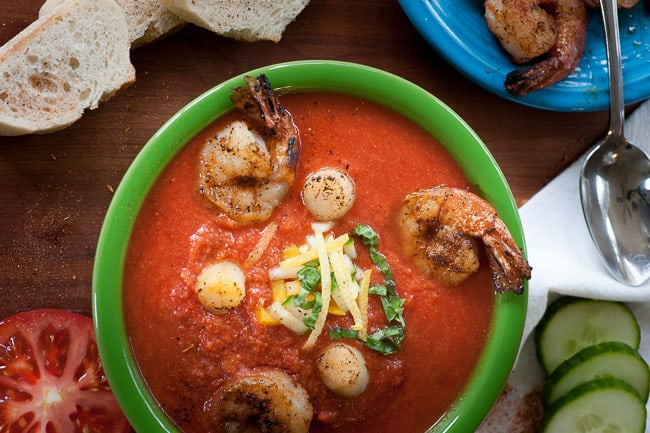 Seafood gazpacho. Try this tasty recipe for gazpacho with shrimp and scallops. It's a summertime treat. | joeshealthymeals.com