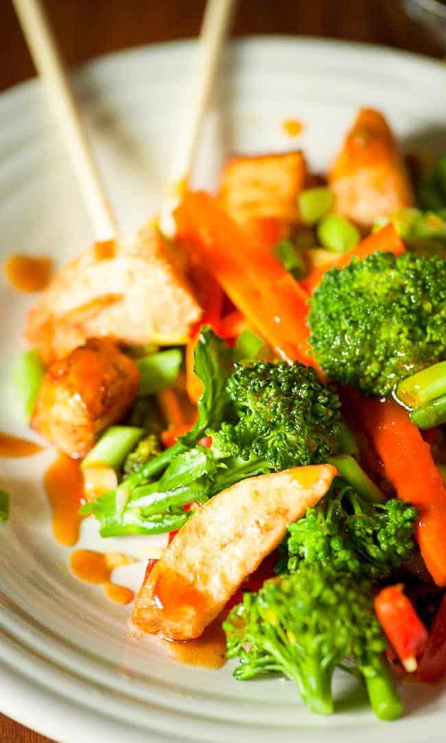 Close-up of vegetable stir fry.