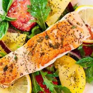 Pan-Fried Salmon with Arugula Salad