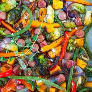 Sheet Pan Roasted Vegetables with Sausage