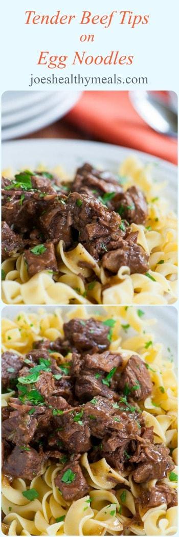 Tender beef tips on egg noodles collage