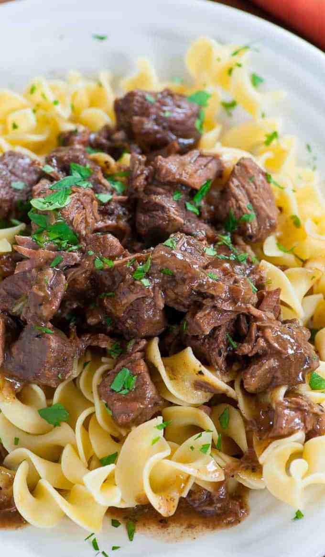 Tasty tender beef tips on noodles