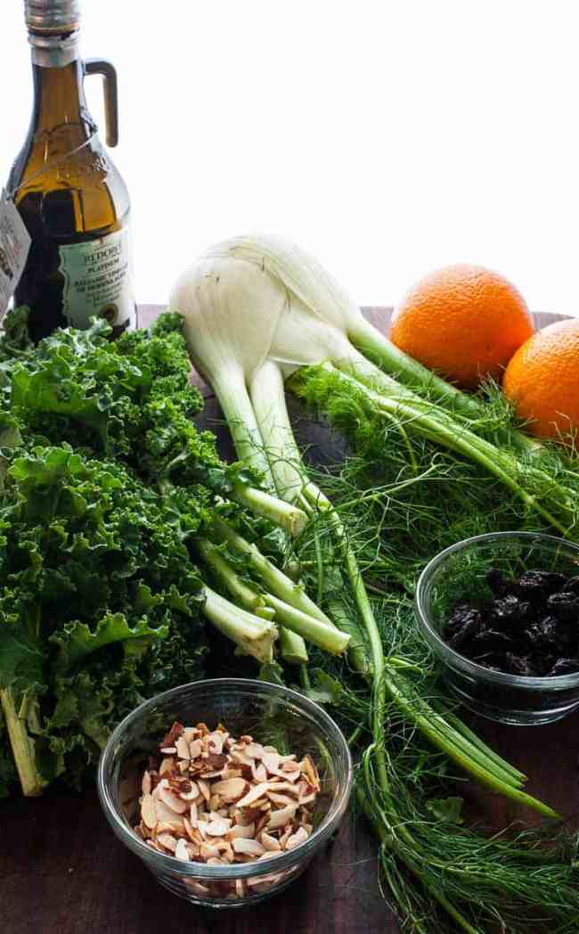 Kale, fennel, oranges, dried cherries, and slivered almonds. | joeshealthymeals.com