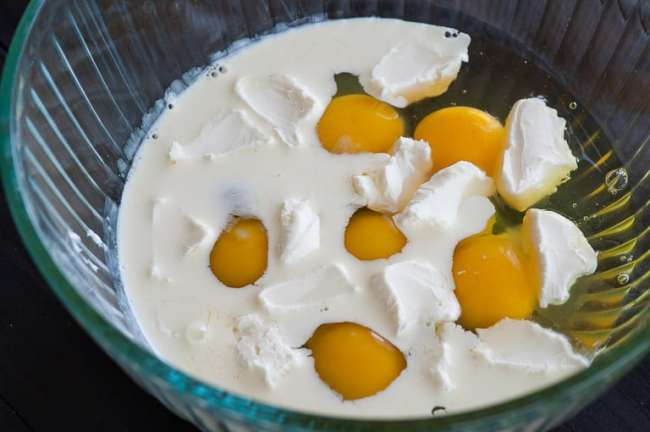 Eggs and cream ready to whisk. Scrambled eggs with smoked salmon.   joeshealthymeals.com