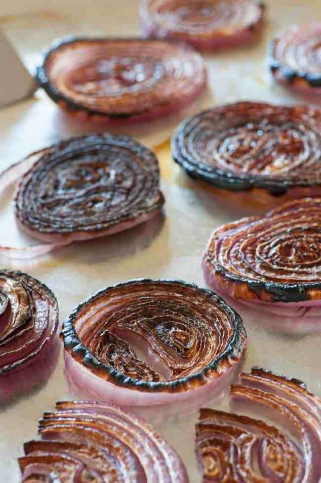 Burnt red onion jam is an easy, delicious condiment to make for steaks or on appetizers. | joeshealthymeals.com
