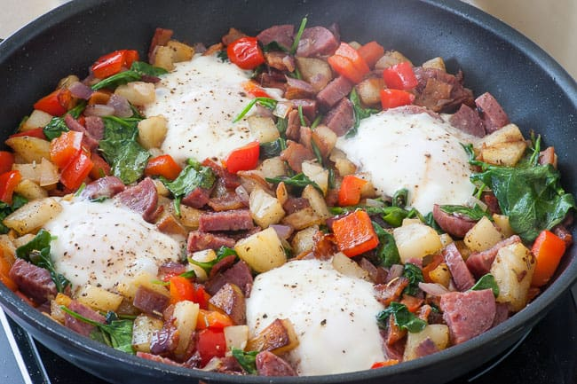 Hash with bacon and salami. Add a fried egg for a perfect meal.   joeshealthymeals.com