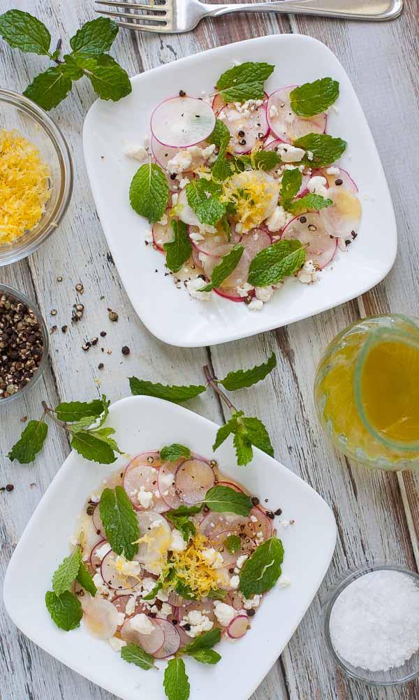 Shaved radish salad with feta cheese and fresh mint leaves. | joeshealthymeals.com