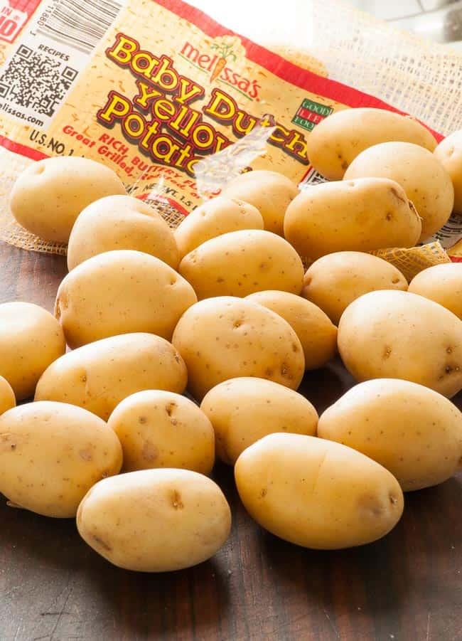 Baby yellow potatoes for warm potato salad. | joeshealthymeals.com