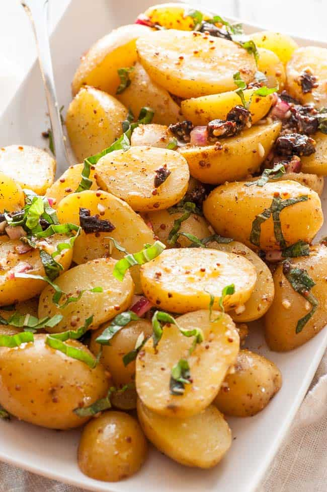 Pressure cooker warm potato salad. Easy to make and so tasty. | joeshealthymeals.com