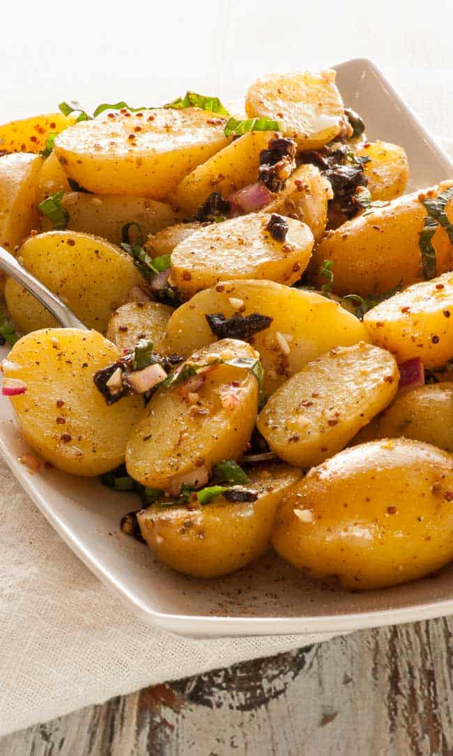 Pressure cooker warm potato salad. | joeshealthymeals.com