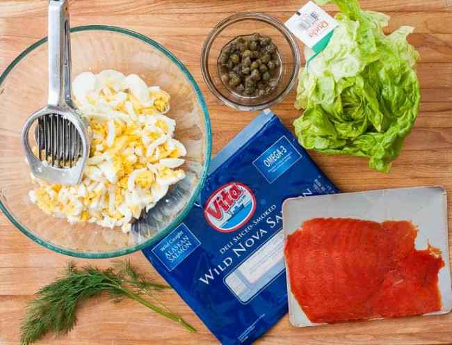 Ingredients for Smoked salmon egg salad lettuce wraps. | joeshealthymeals.com