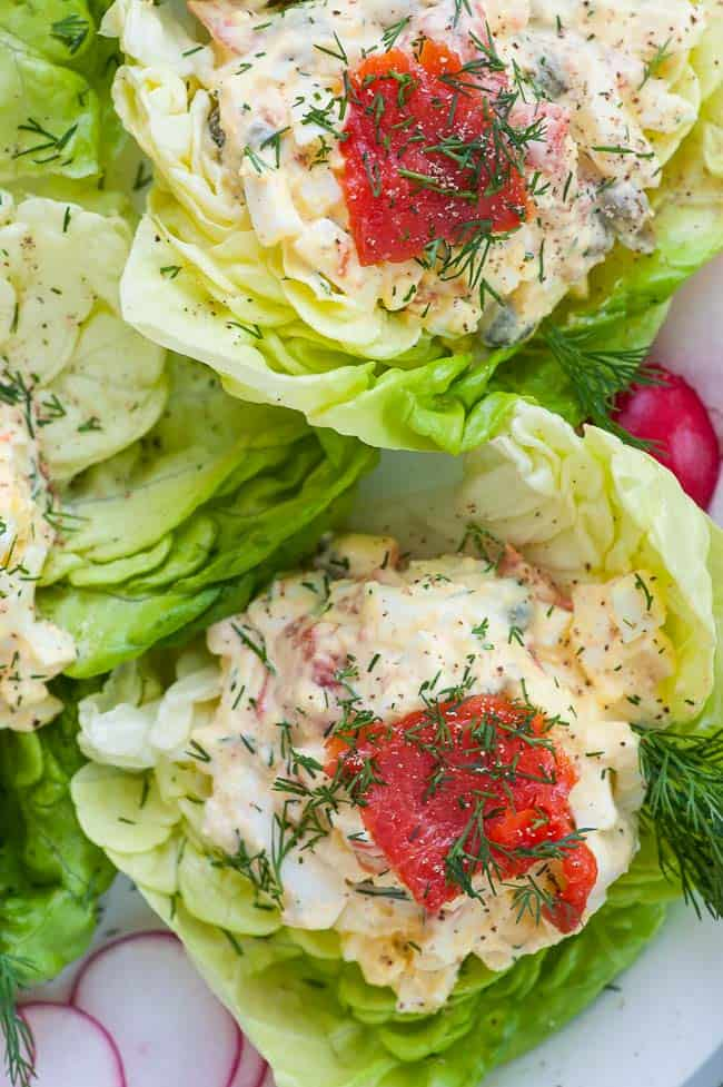 Close up of Smoked salmon egg salad lettuce wraps. | joeshealthymeals.com
