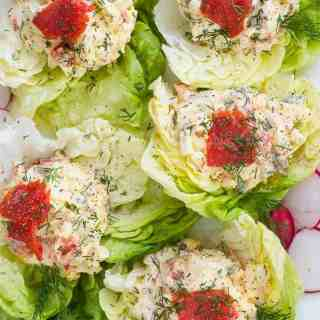 Smoked salmon egg salad lettuce wraps. | joeshealthymeals.com
