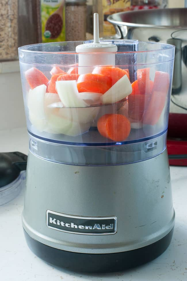 Vegetables in a small food processor.