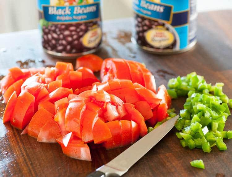 Black beans rancheros ingredients.