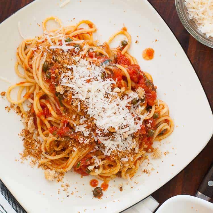 Midnight spaghetti recipe, full of complex flavors. | joeshealthymeals.com