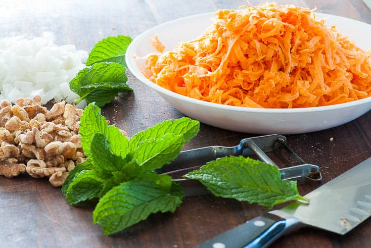 Shredded sweet potato, onion, and walnuts.