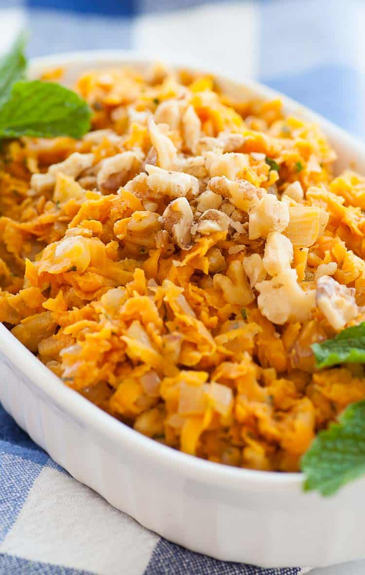 Sauteed shredded sweet potatoes makes a delicious, easy to make side dish. | joeshealthymeals.com