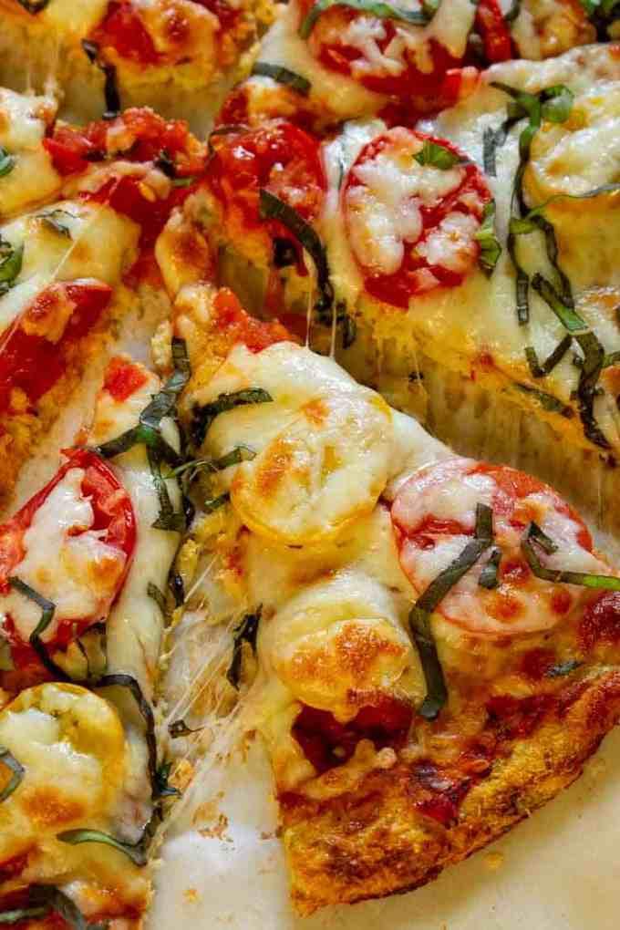 Cauliflower Crust Margherita Pizza, a tasty, gluten free alternative to flour crust. | joeshealthymeals.com