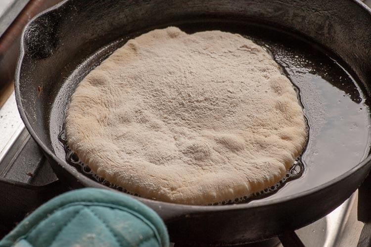Pan fried naan bread.