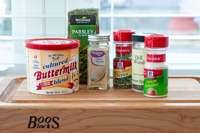 Ranch dressing ingredients for ranch baked chicken breasts.
