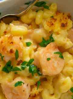 Delicious shrimp mac and cheese. | joeshealthymeals.com