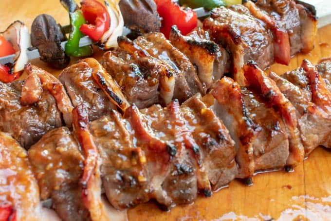 Steak kabobs grilled and ready to eat.