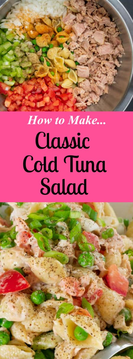 This is a collage on how to make a tuna salad.