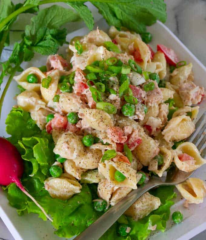 Classic cold tuna salad with onions, celery, tomatoes and peas.