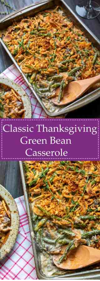 pinterest collage of classic green bean casserole